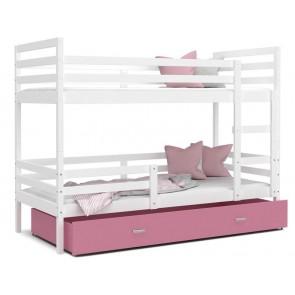 Emeletes gyerekágy ágyneműtartóval fehér-rózsaszín JACK