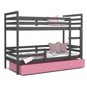 Emeletes gyerekágy ágyneműtartóval szürke / rózsaszín JACK