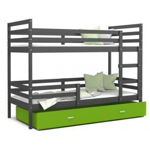 Emeletes gyerekágy ágyneműtartóval szürke / zöld JACK