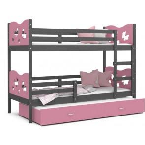 Háromszemélyes emeletes gyerekágy, szürke-rózsaszín - MAX 3
