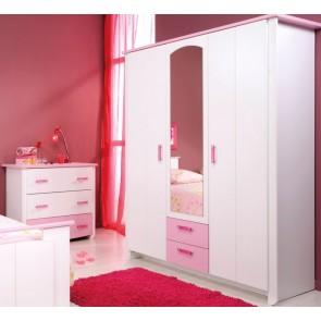 Háromajtós szekrény gyerek- és ifjúsági szobába (fehér-rózsaszín) - Parisot Biotiful