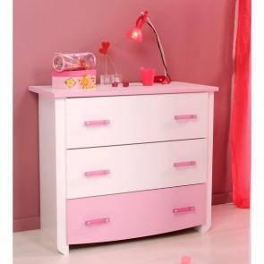 Gyerek komód (fehér-rózsaszín) - Parisot Biotiful